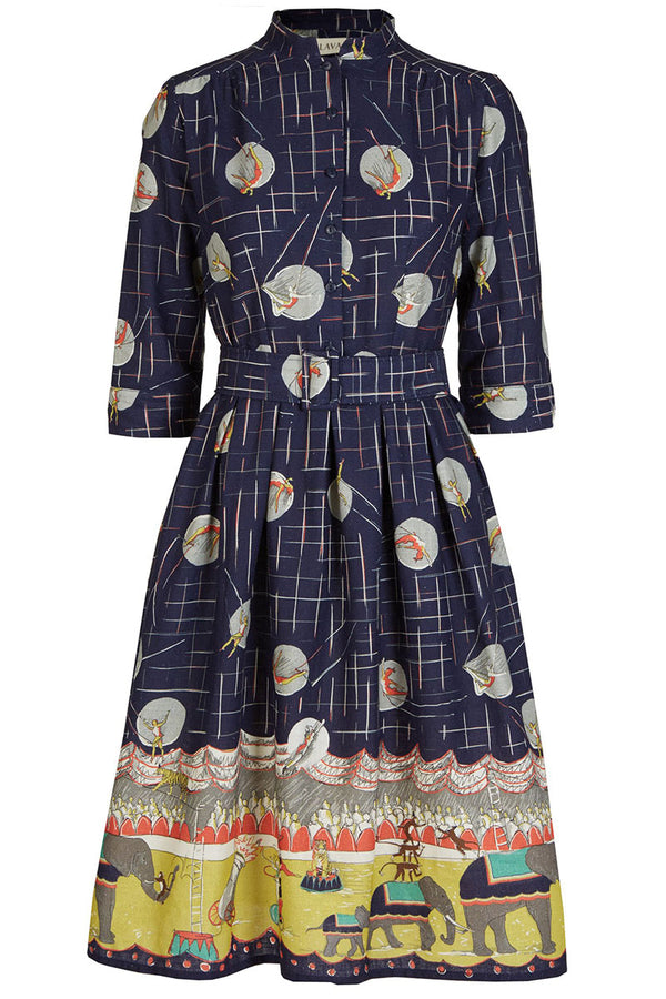 Palava Cynthia Dress Navy Circus Parade (Cotton Linen Blend)