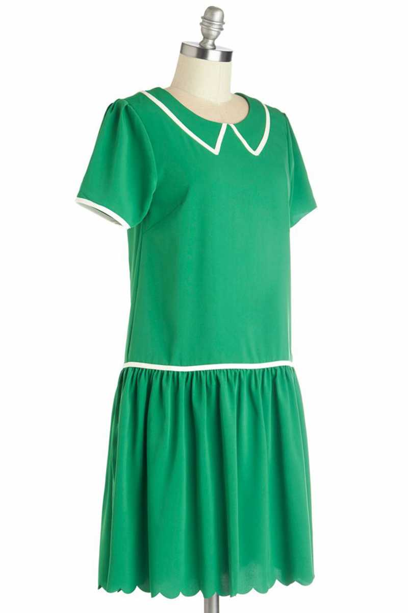 Dear Creatures Celine Scalloped Hem Dress Green XS - Talis Collection