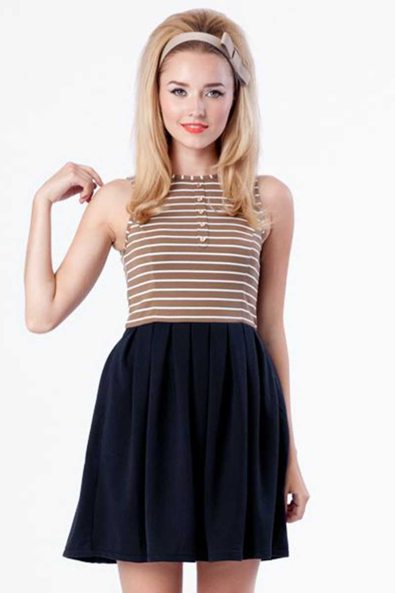 Dear Creatures Jane Striped Top Skater Dress XS - Talis Collection