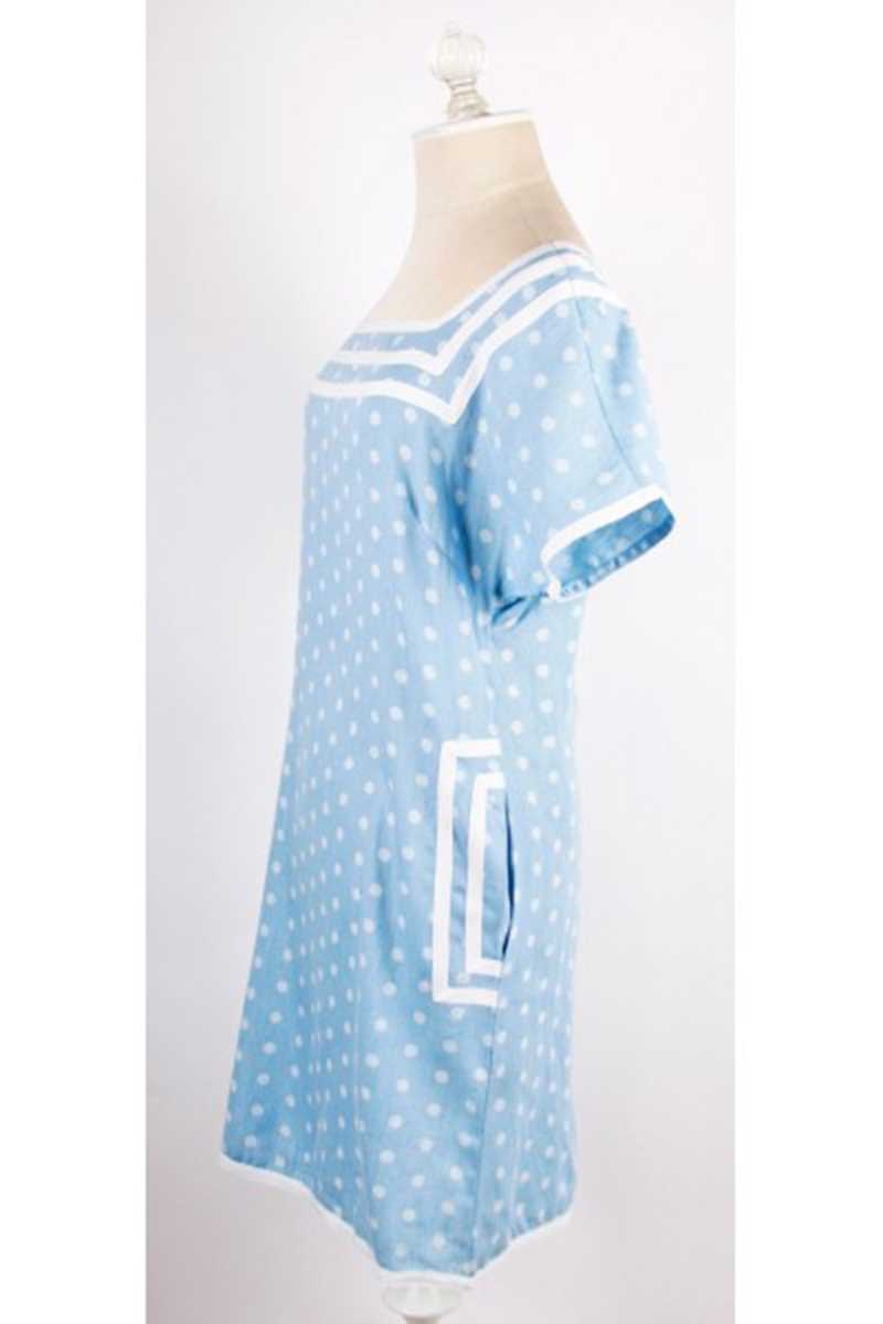 Dear Creatures Sailing Polka Dot Dress Blue - Talis Collection