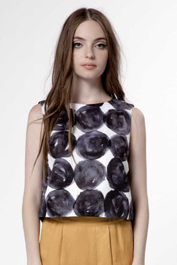 Dear Creatures Cara Cropped Blouse Stacked Dots - Talis Collection