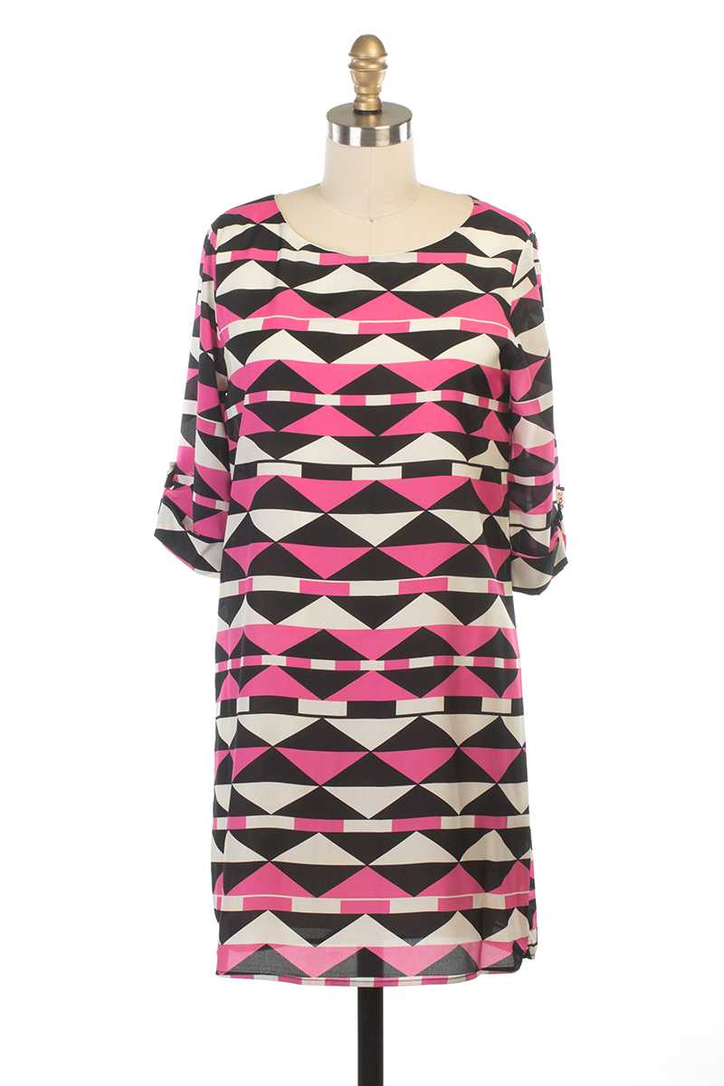 Everly Jaida Tribal Print Shift Dress - Talis Collection