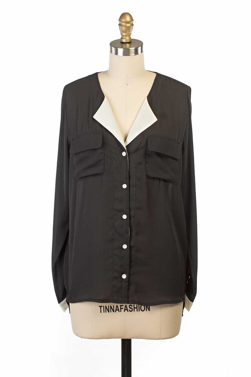 Everly Ada Blouse Top Black with Pockets - Talis Collection
