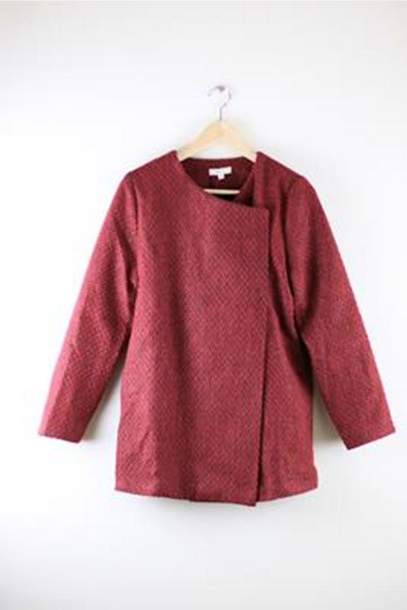 Everly Linette Oversized Coat Red Wine