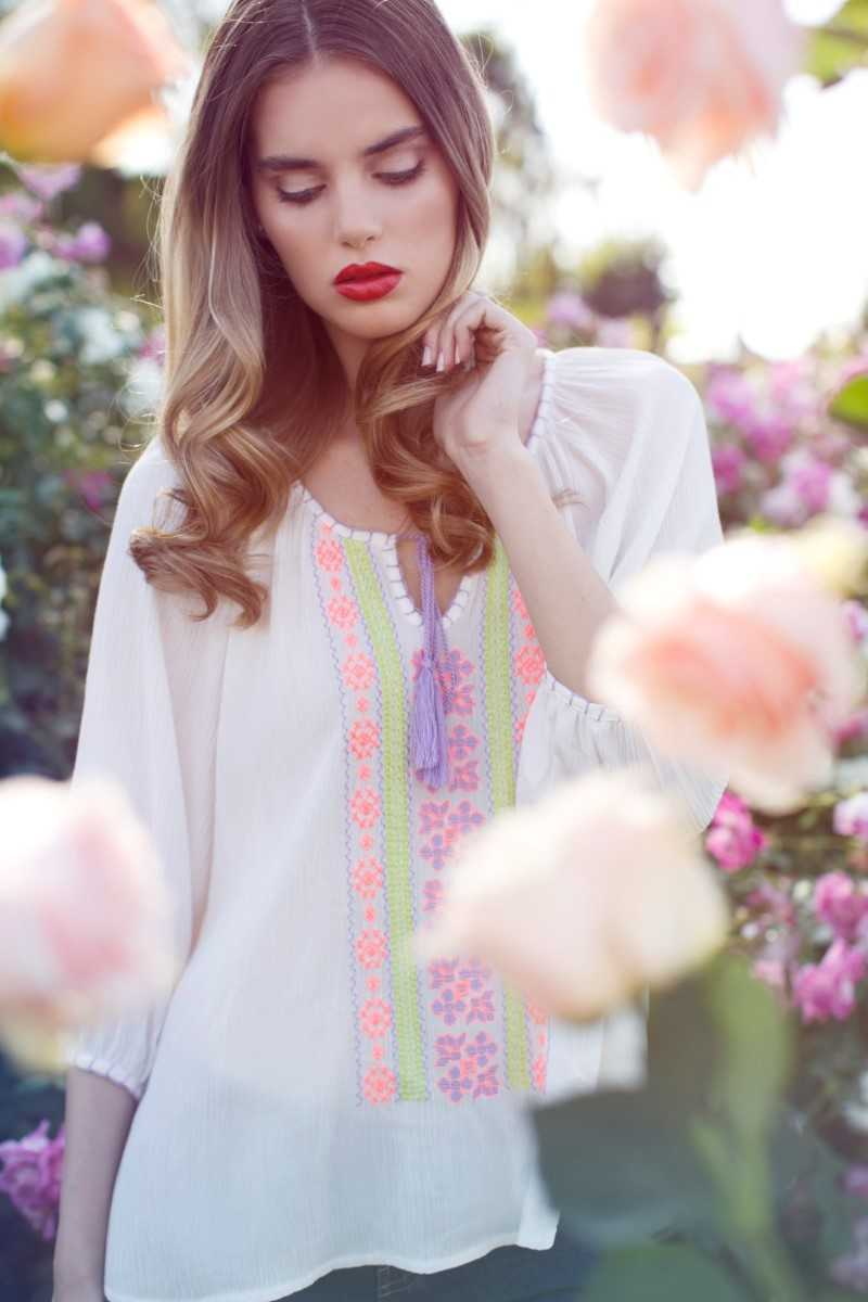 Everly Alicia Embroidered Boho Top - Talis Collection