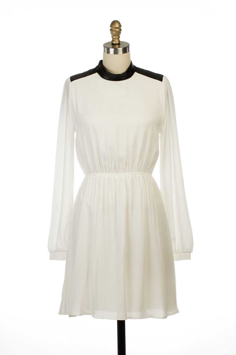 Everly Abbey LS Leather Collar Dress White - Talis Collection