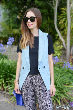 Everly Buttoned Sleeveless Blazer - Talis Collection