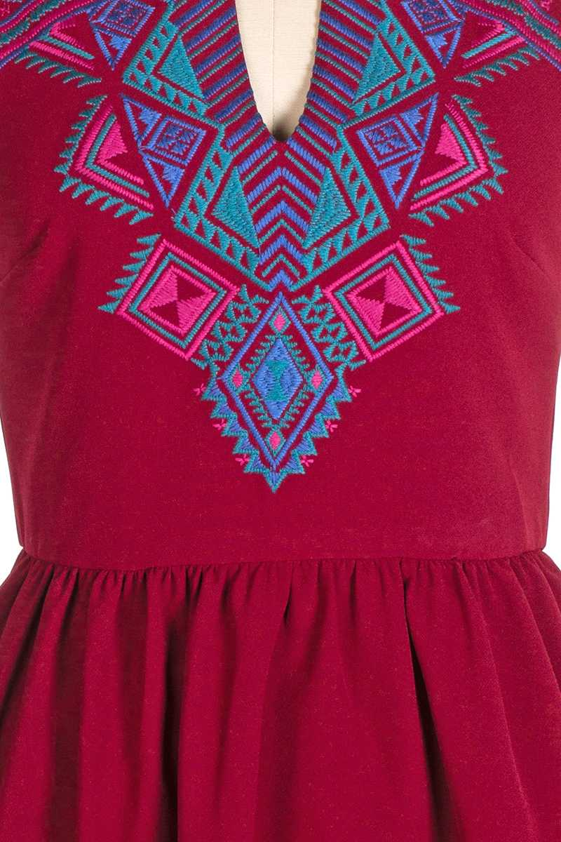 Everly Alena Embroidery Skater Dress Red - Talis Collection