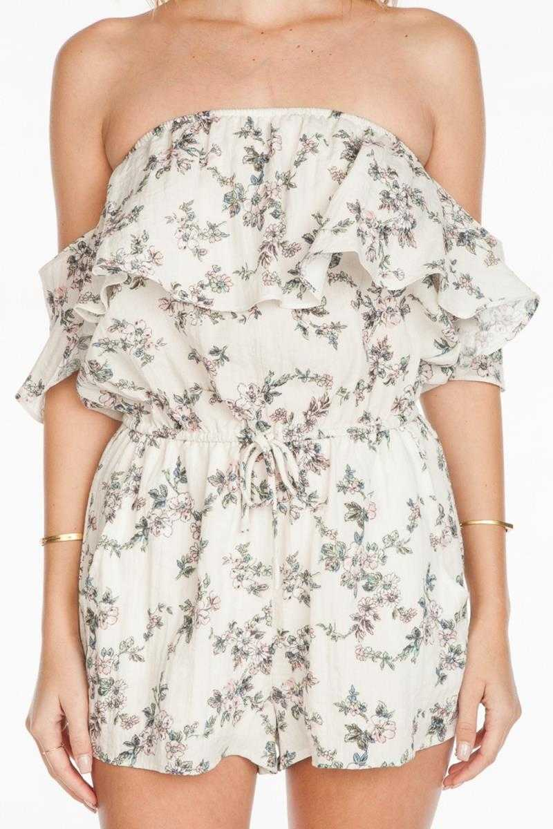 Everly Floral Print Off Shoulder Romper Ivory - Talis Collection