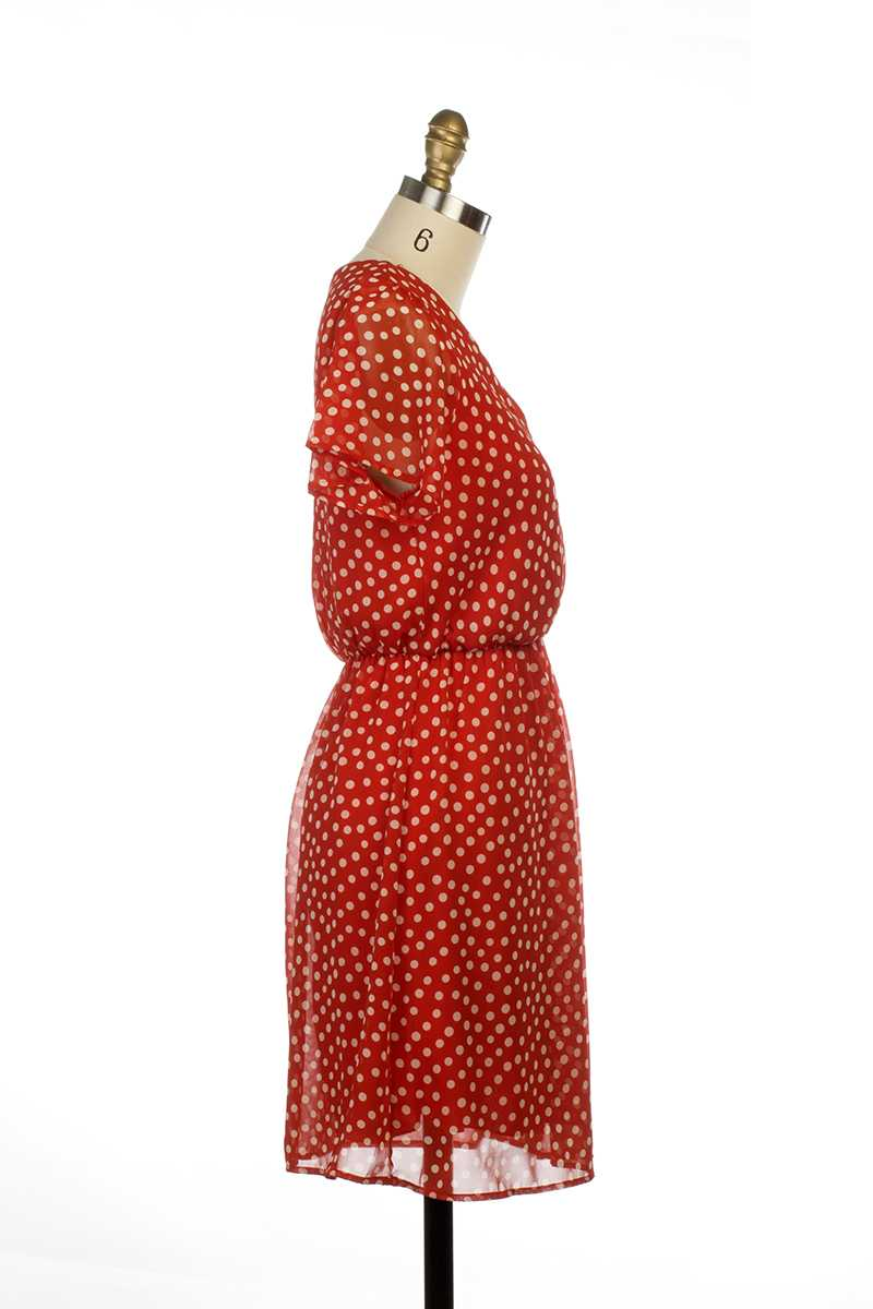 Everly Kate Ruffle Sleeve Polka Dot Dress Red - Talis Collection