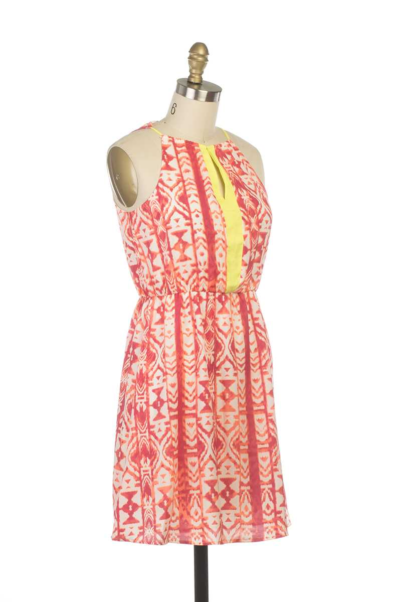 Everly Katie Halter Tribal Print Tank Dress Red - Talis Collection