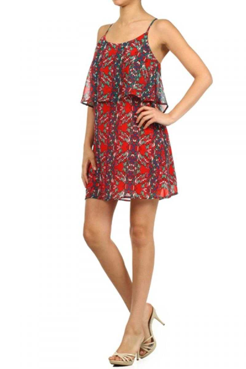Everly Cross Back Tiered Print Dress - Talis Collection