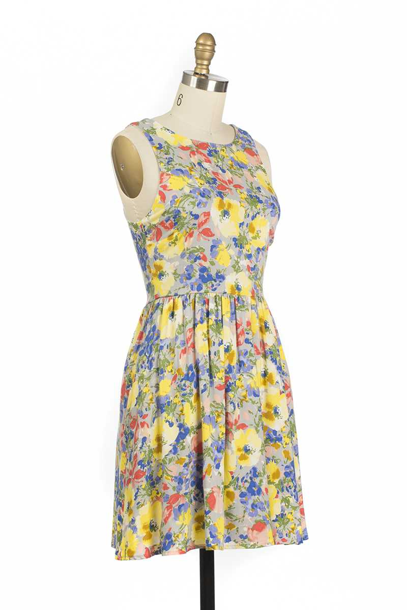 Everly Blanca Floral Print Skater Dress Yellow - Talis Collection