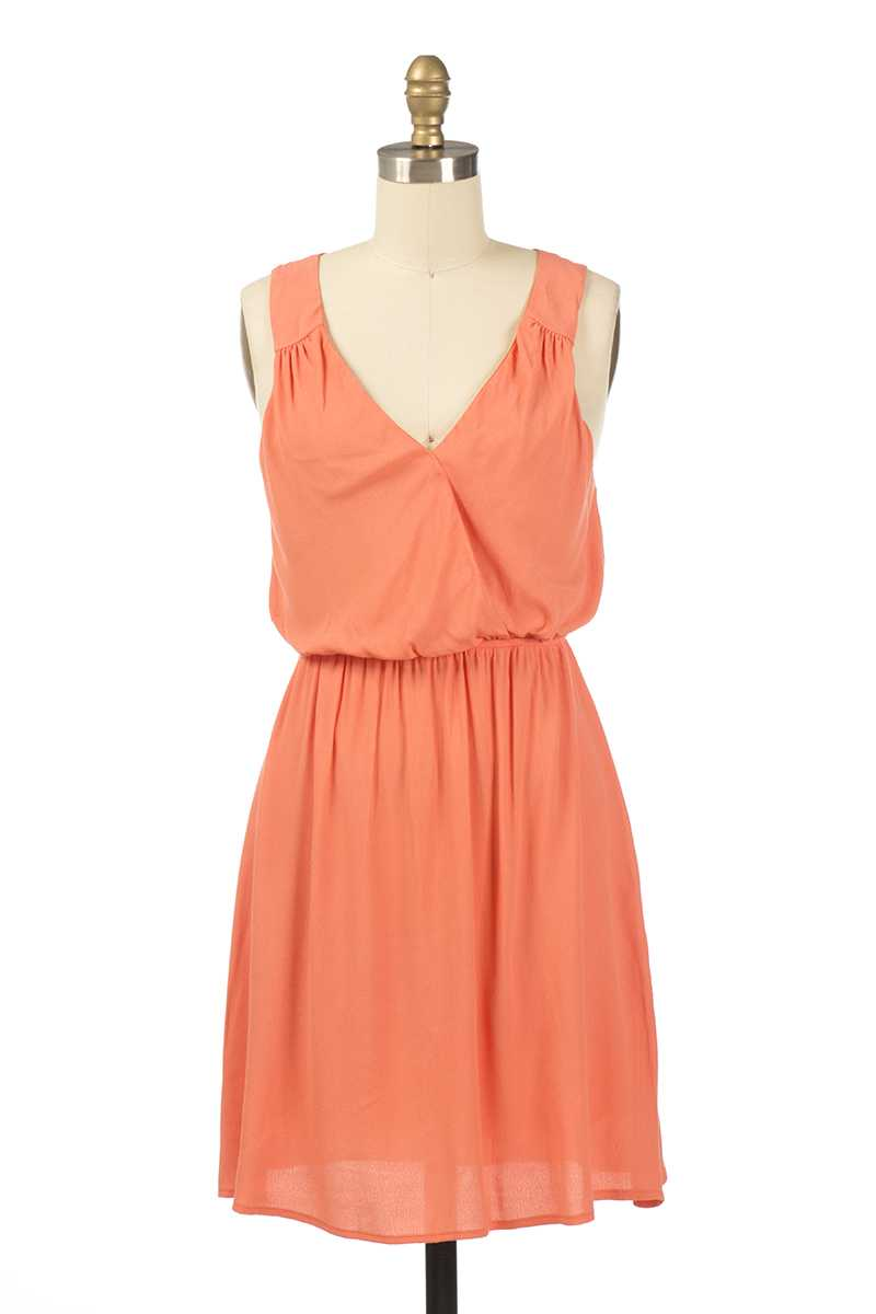 Everly Heidi V Neck Skater Dress Orange - Talis Collection
