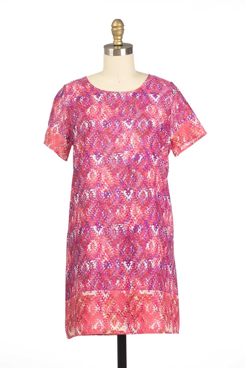 Everly Elaina Short Sleeve Shift Dress Pink - Talis Collection