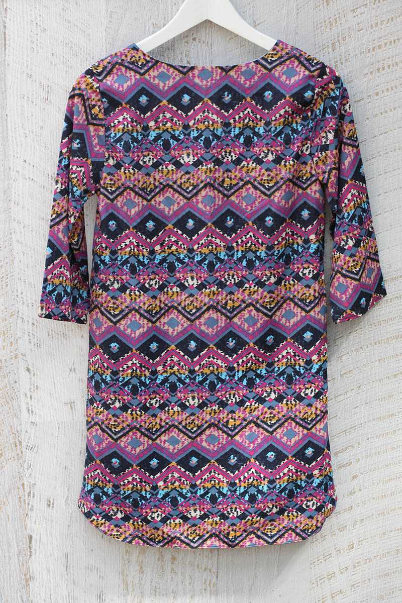 Everly Geometric Print Tunic Dress - Talis Collection