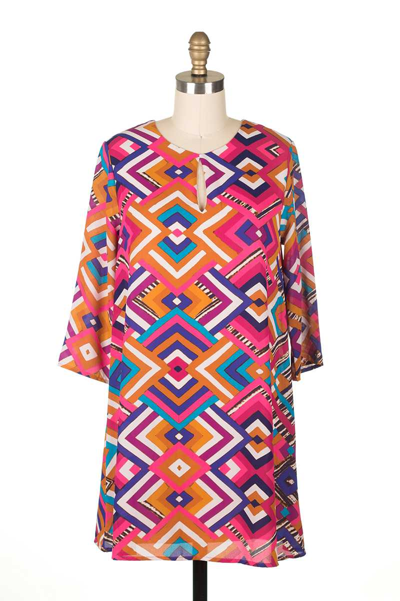 Everly Aztec Print Shift Dress - Talis Collection