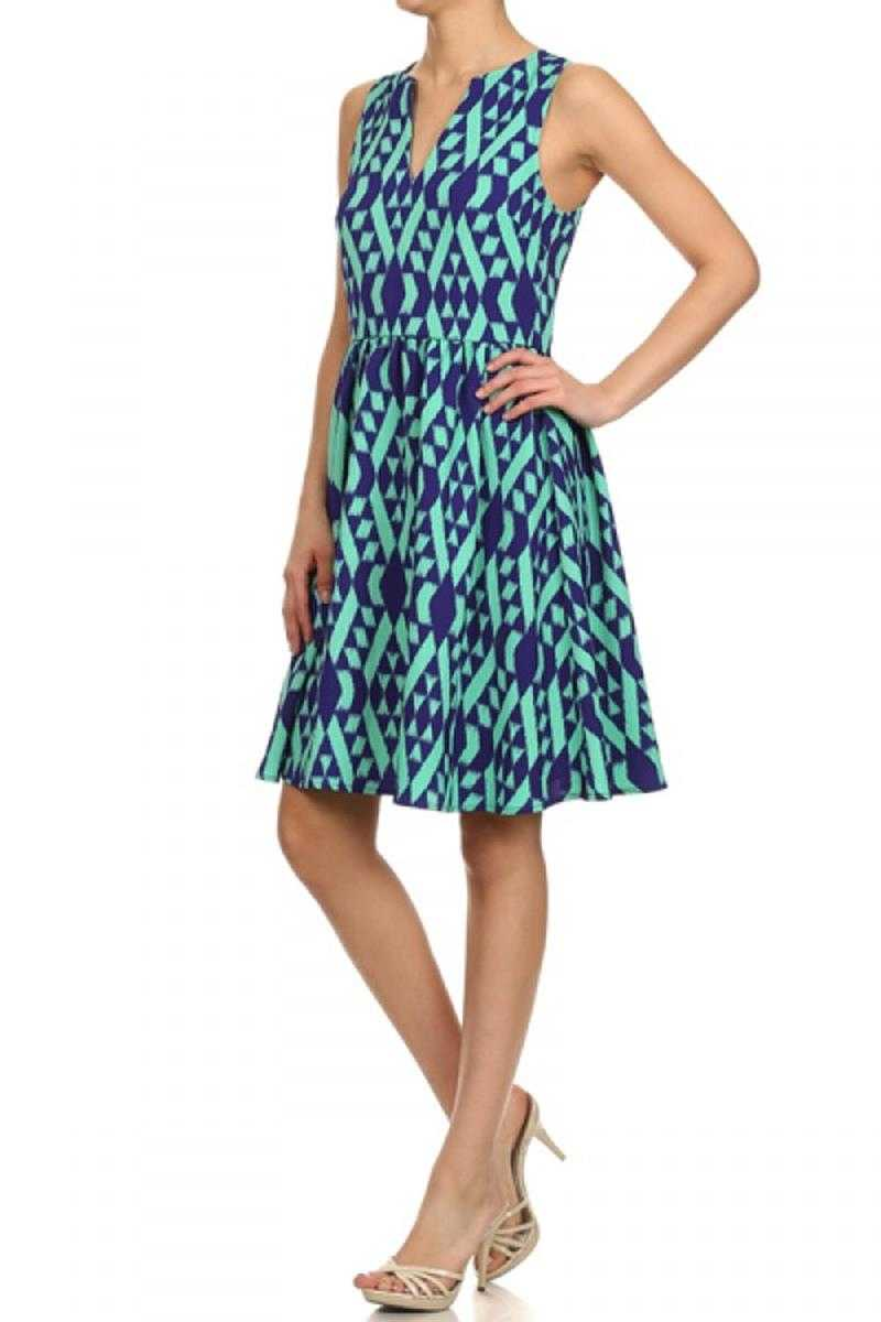 Everly Geo Print A-line Dress - Talis Collection