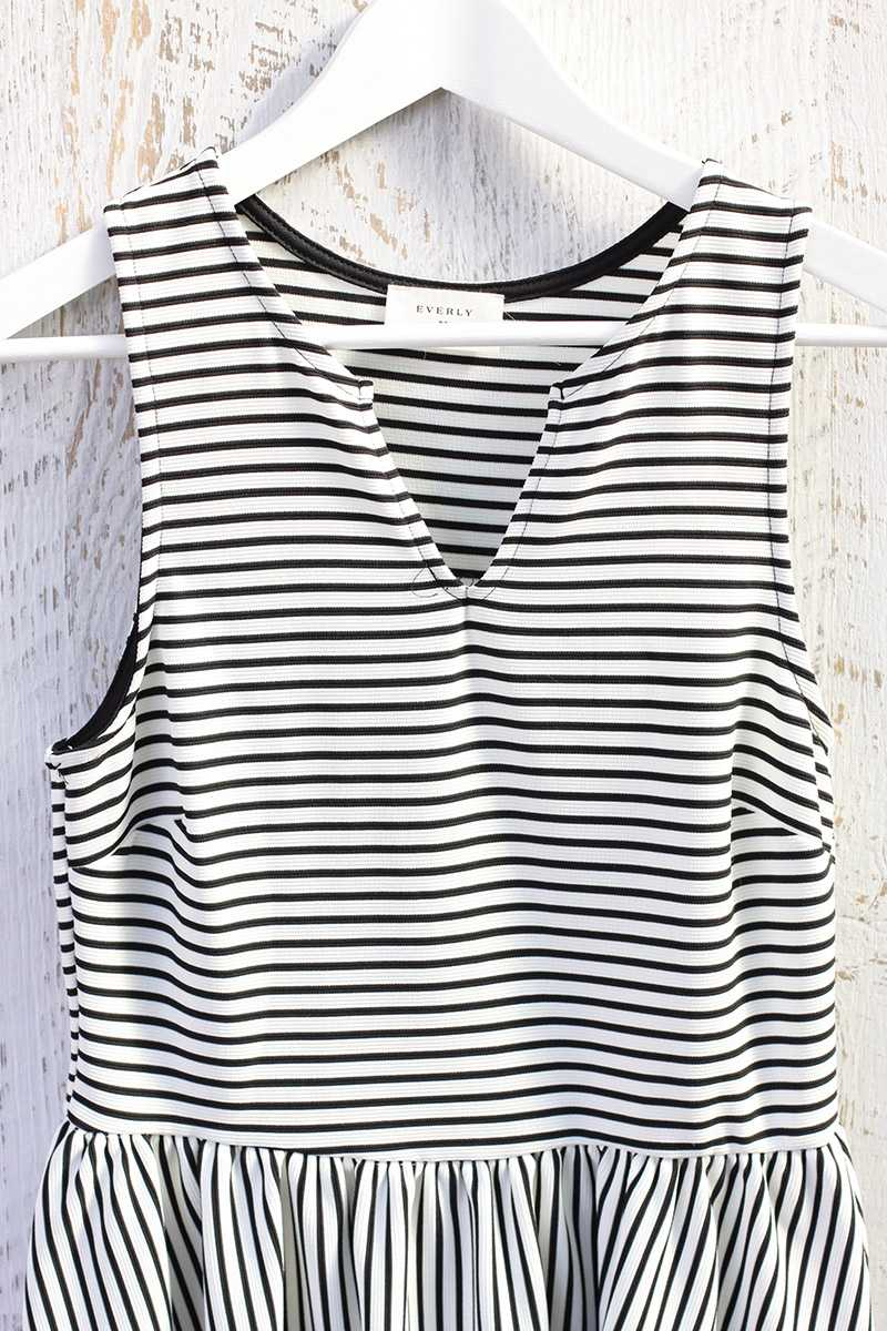 Everly Sleeveless Striped Skater Dress
