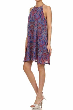 Everly Geo Paisley Print Shift Dress - Talis Collection