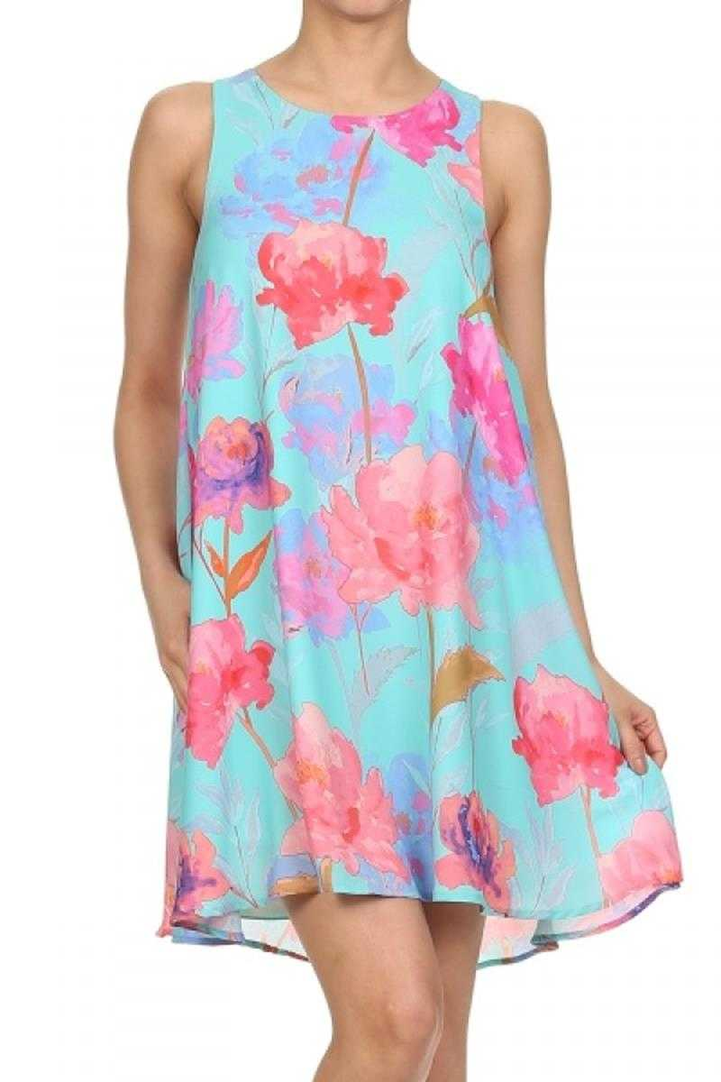 Everly Floral Print A-line Shift Dress - Talis Collection