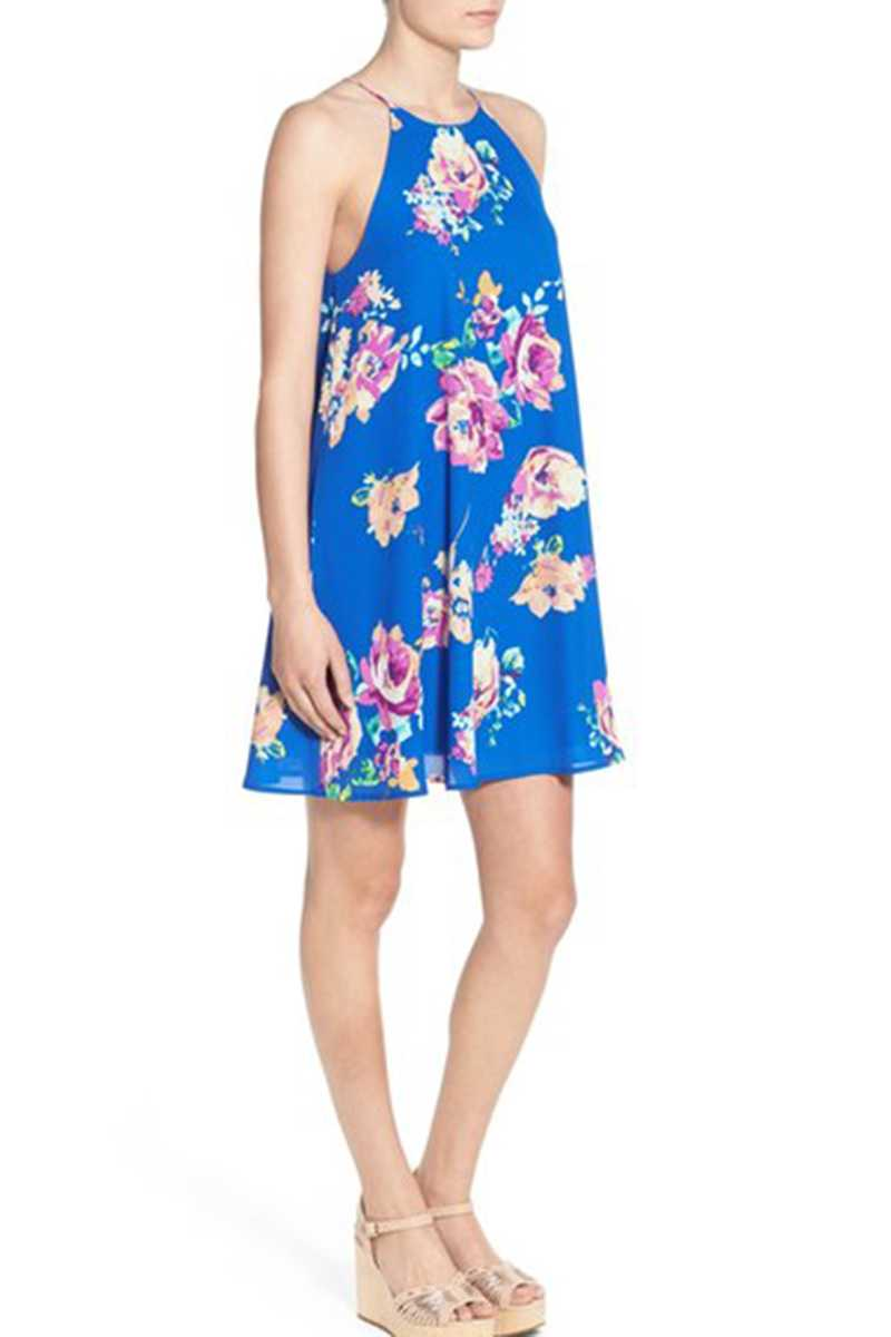 Everly Halter Neck Floral Print Shift Dress Royal - Talis Collection