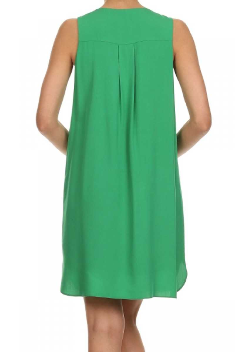 Everly Ava V Neck Shift Dress Green - Talis Collection