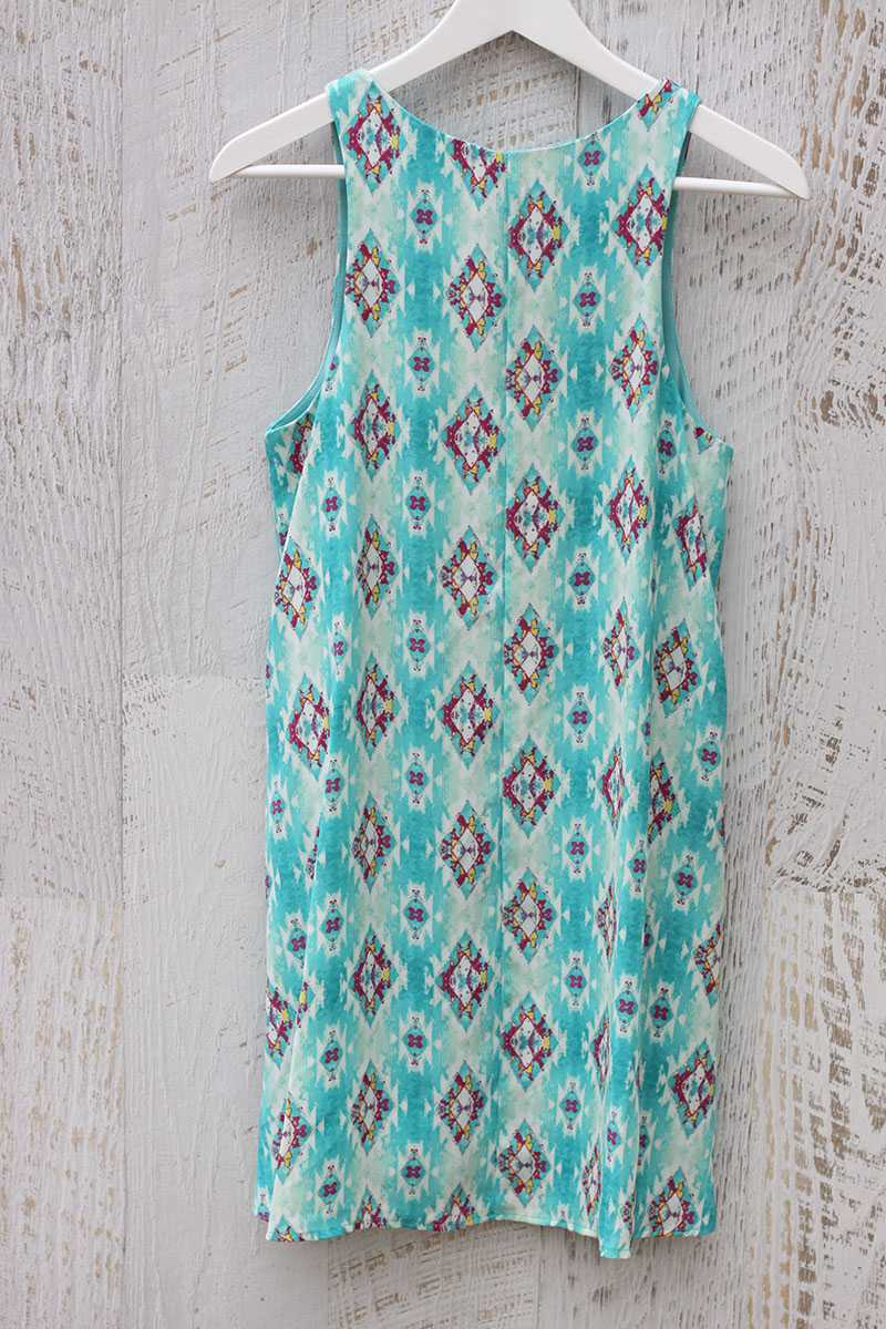 Everly Tribal Print Tank Shift Dress Green