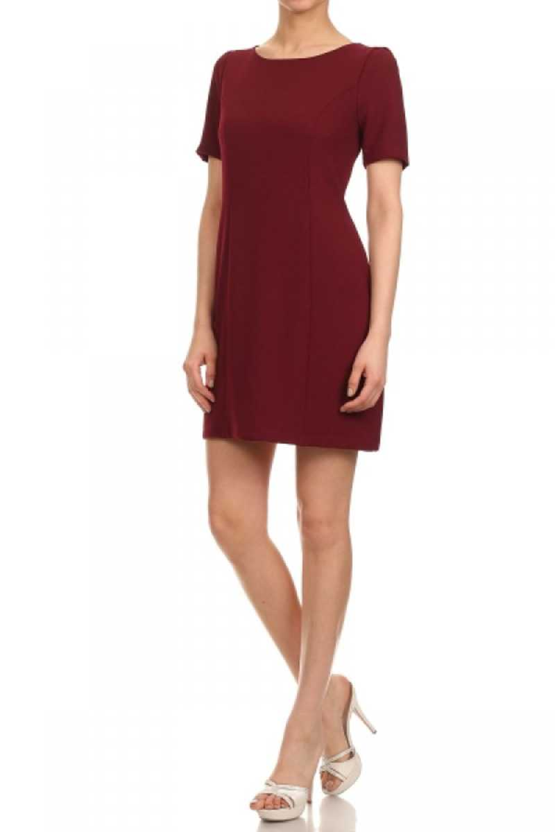 Everly Scuba Tee Dress Red Wine