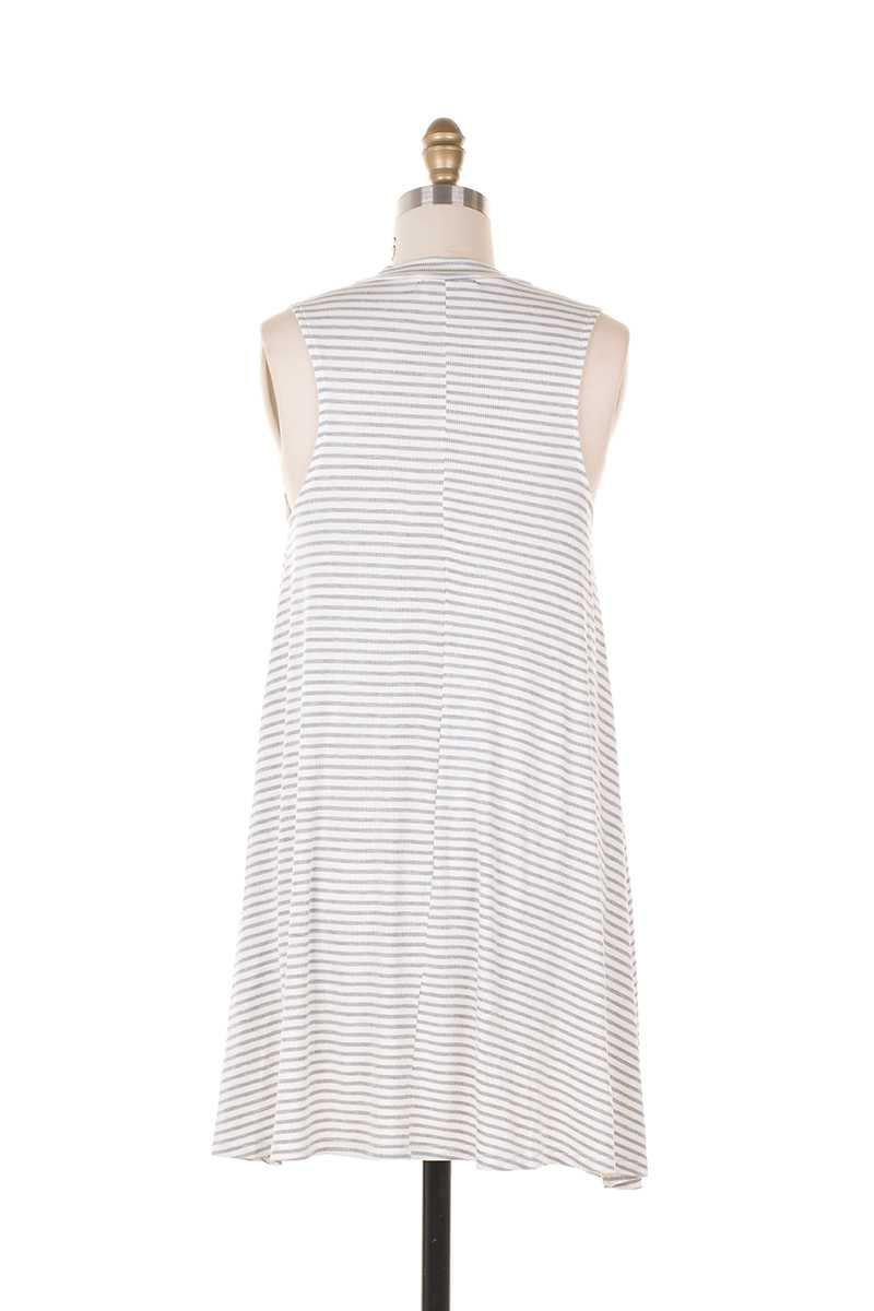 Everly Hailee Mock Neck Striped Shift Dress Gray - Talis Collection