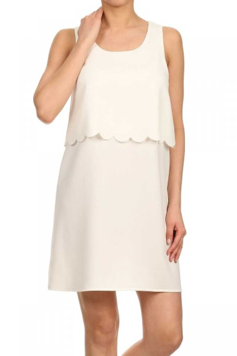 Everly Scalloped Hem Layer Shift Dress White