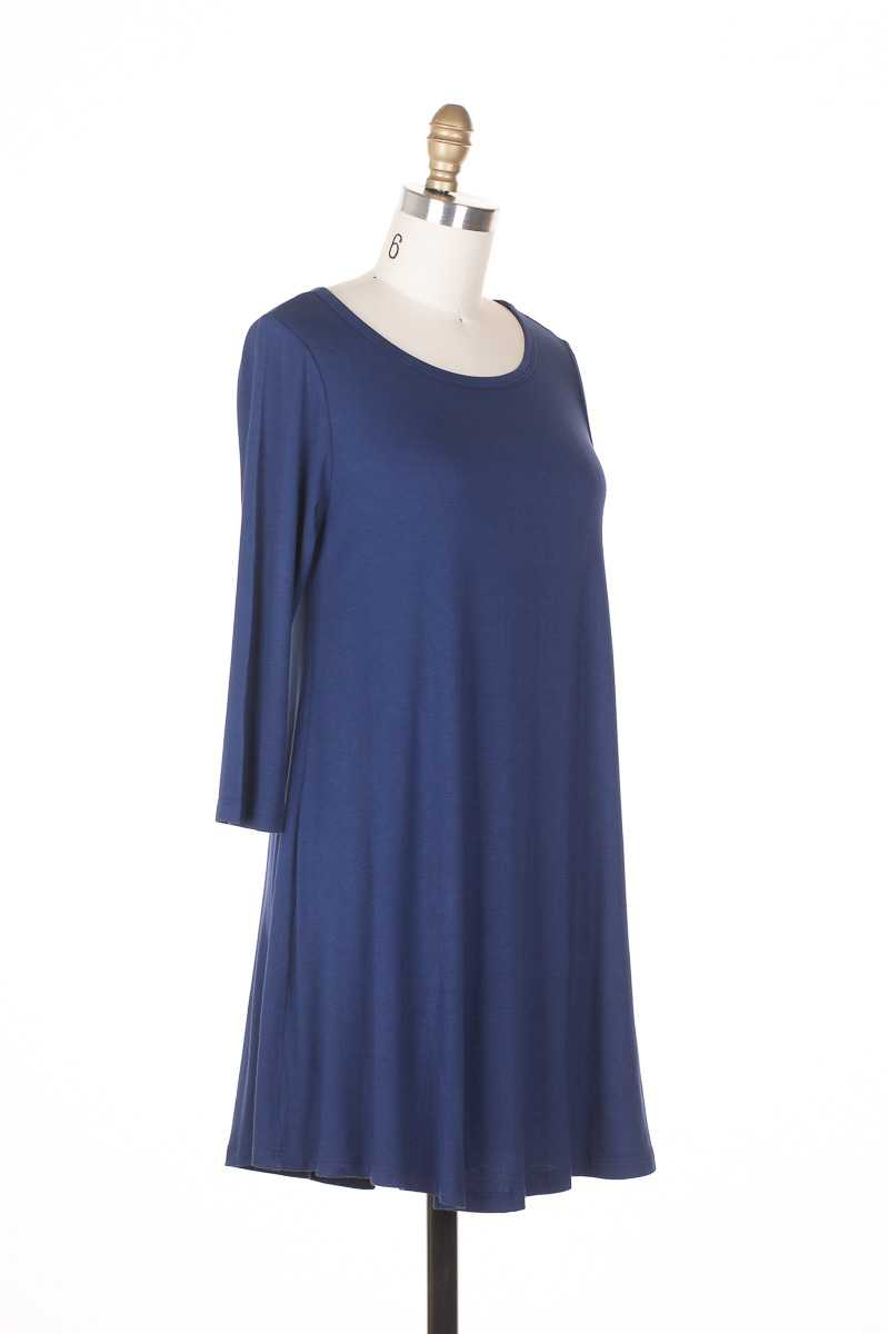 Everly 3/4 Sleeve Hi Lo Jersey Shift Dress - Talis Collection