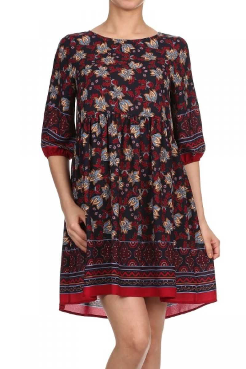 Everly Floral Print Dress Red Wine - Talis Collection