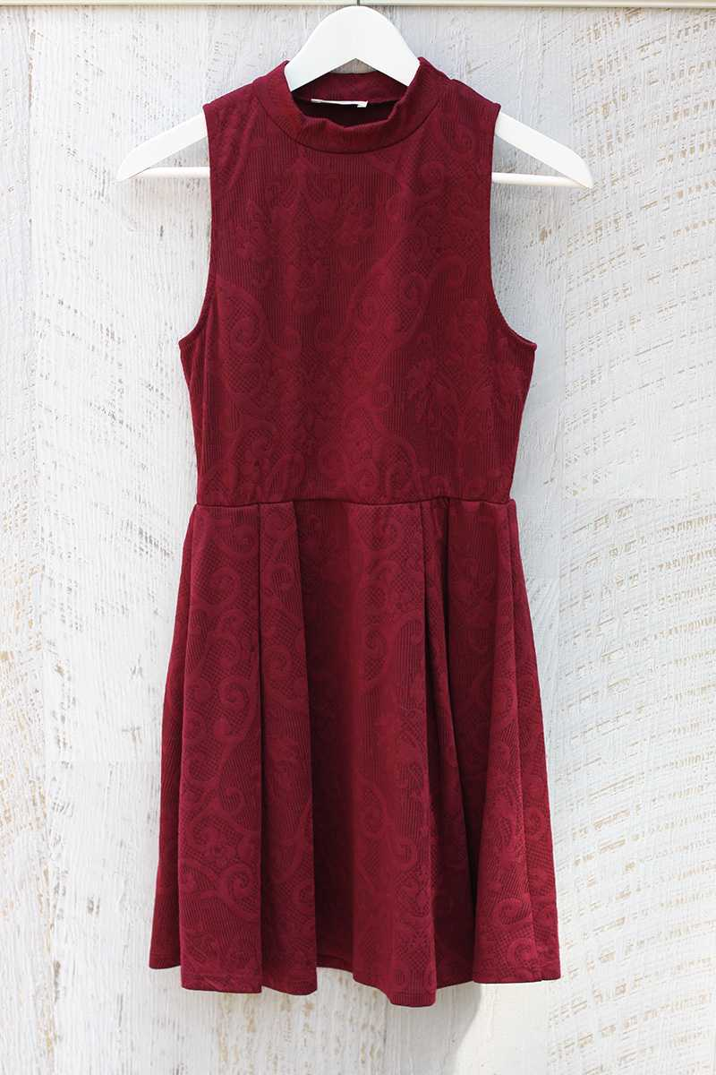 Everly Mock Neck Jacquard Skater Dress