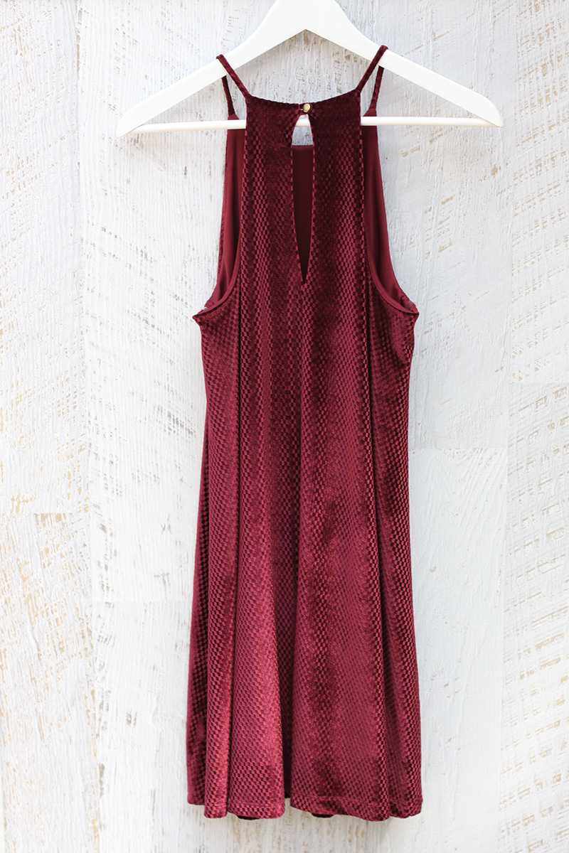 Everly Halter Neck Velvet Shift Dress
