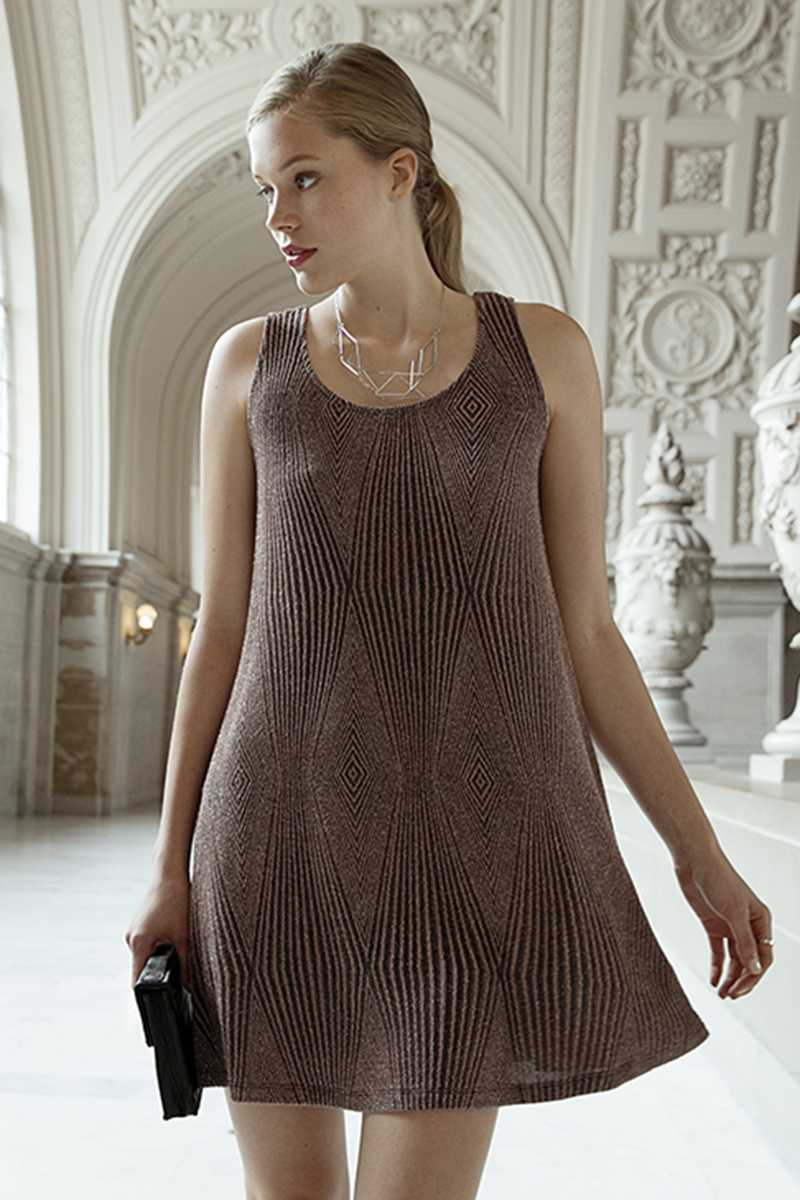 Everly Knitted Rose Sparkle Mini Dress - Talis Collection