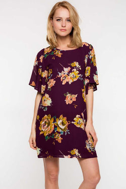Everly Floral Print Wide Sleeve Shift Dress - Talis Collection