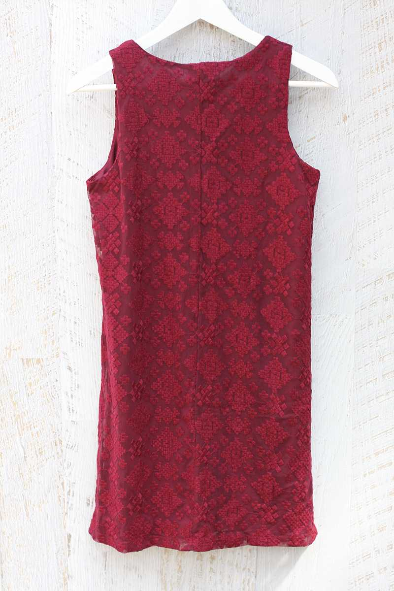 Everly Embroidered Shift Dress Red Wine - Talis Collection