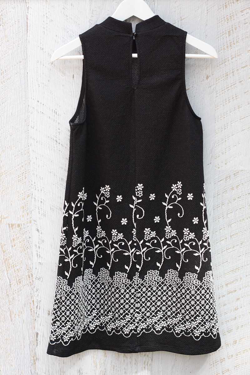 Everly Mock Neck Embroidered Shift Dress