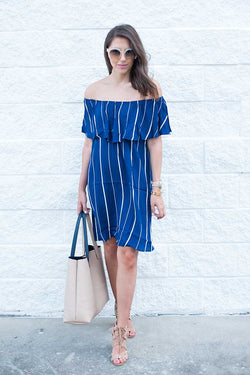 Everly Off Shoulder Striped Dress