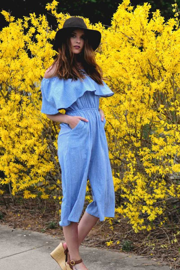 Everly Off Shoulder Jumpsuit Denim