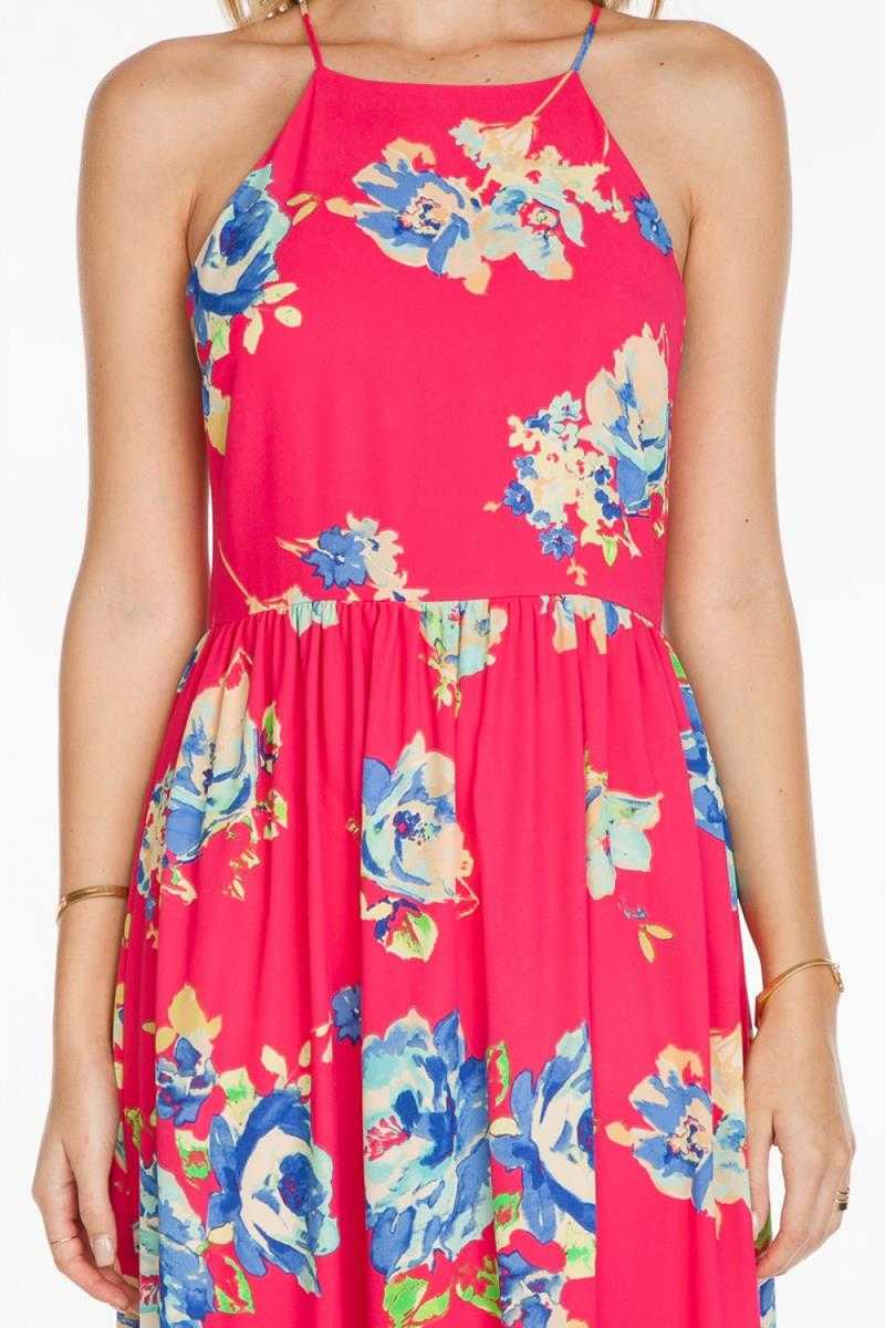 Everly Sleeveless Halter Neck Floral Print Maxi Dress
