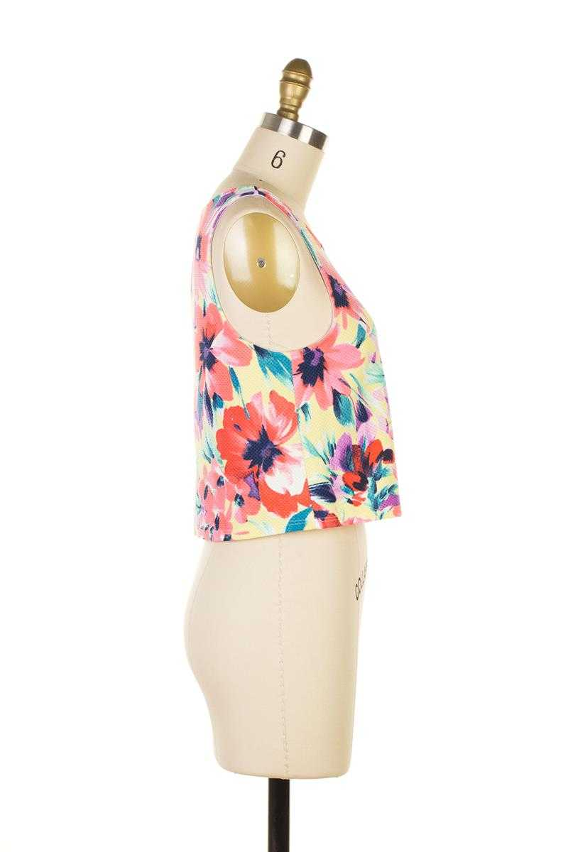 Everly Floral Print Crop Top - Talis Collection