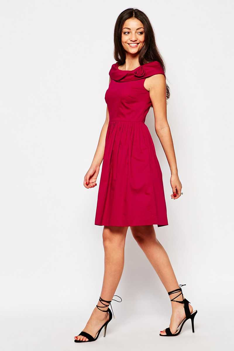 Emily and Fin Norma Dress Red Cotton Satin - Talis Collection
