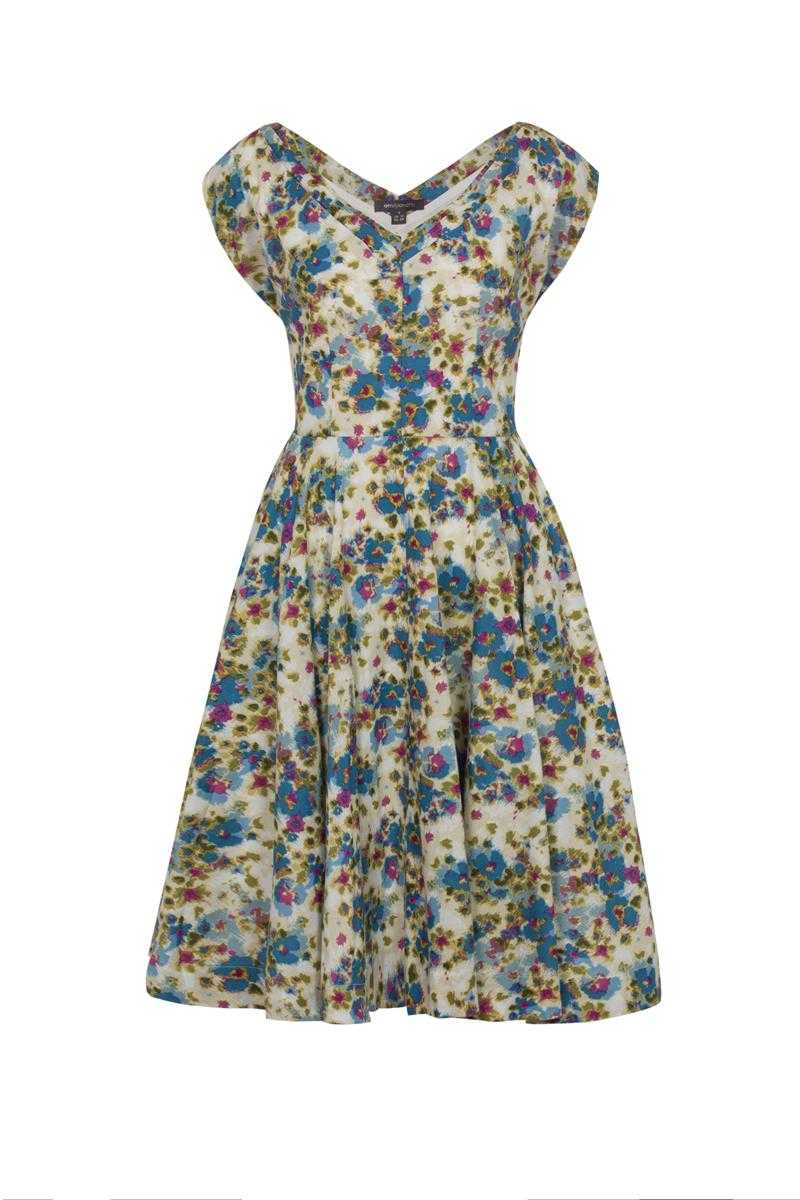 Emily and Fin Violet Dress Blue Watercolour Floral Size XS - Talis Collection