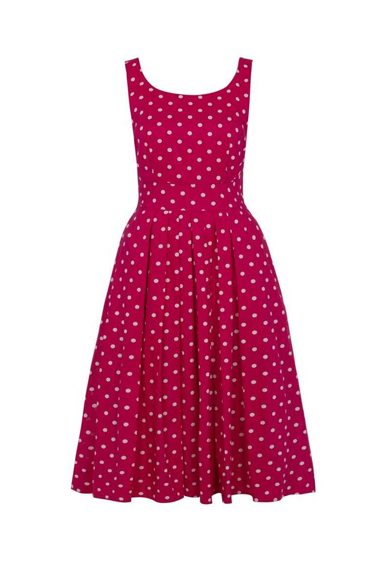Emily and Fin Raspberry with White Polka Isobel Dress - Talis Collection
