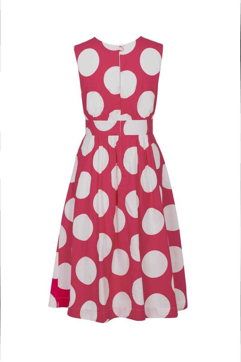 Emily and Fin Pink with White Giant Polka Lucy Dress Long - Talis Collection
