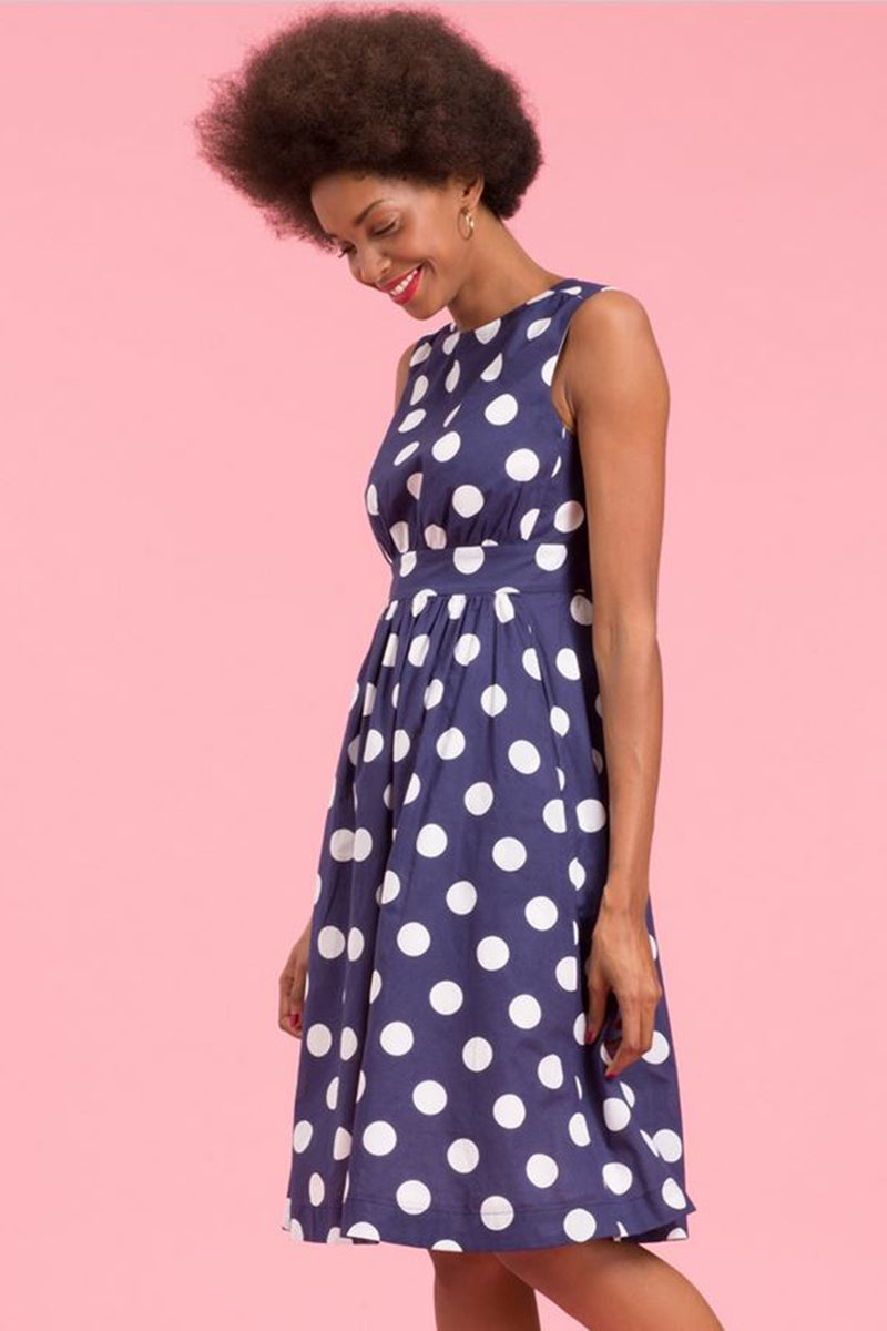 Emily and Fin Navy with Giant White Polka Lucy Dress Long