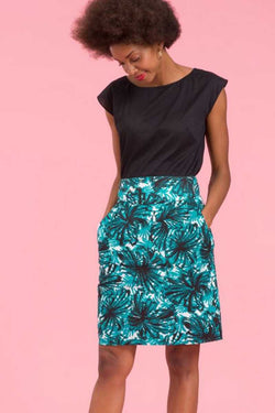 Emily and Fin Robyn Skirt Green Abstract Palm - Talis Collection