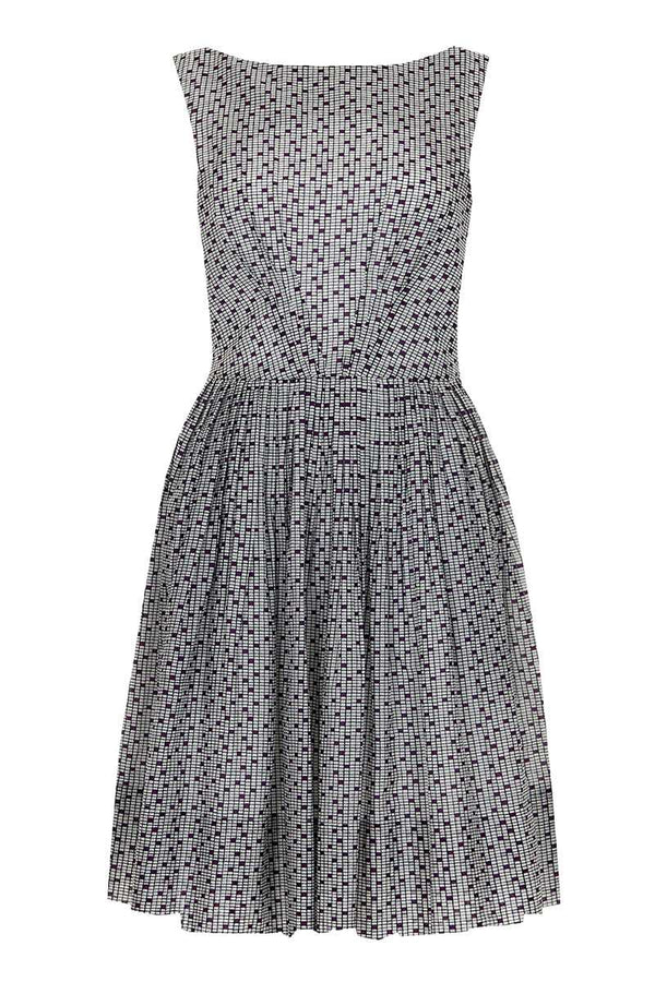 Emily and Fin Abigail Dress White with Purple Checkboard Size XS - Talis Collection